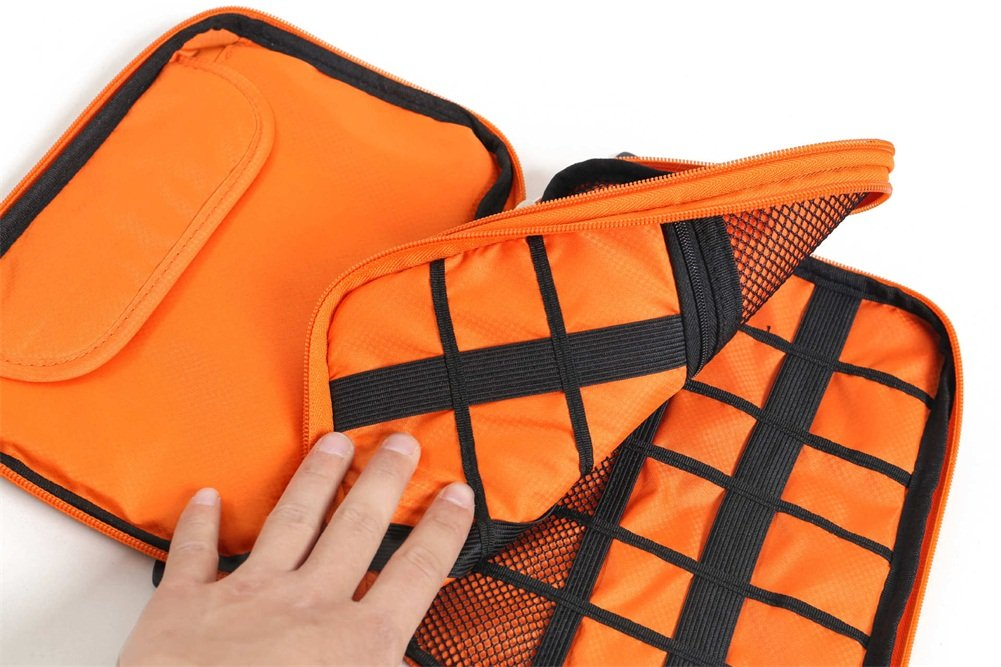 Professional Travel Cable Cord Organizer Case Bag, Electronics Accessories Cases For USB Cord, Phone, Headset Headphone Earphone Cord Manager HGJ07-A-001 Orange