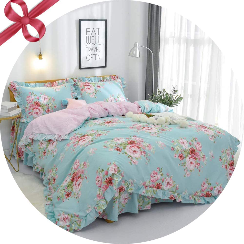 FADFAY Farmhouse Shabby Pink Floral Chic Bedding Set Rose Floral Bedskirt Set 100% Cotton Exquisite Craft Hypoallergenic 4-Piece Queen Size