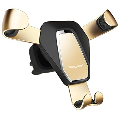 Newest Car Phone Gravity Holder, Fit-Fun Air Vent Mount Cell Phone Holder with 360 Degree Spring Clip Car Cradle Mount Mobile Phone Stand for iPhone X/8/8Plus/7/7Plus/6s/6Plus/5S Smartphone(Golden)