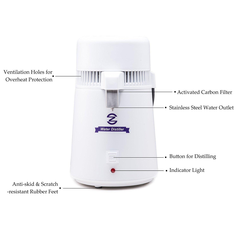 CO-Z - Máquina destiladora de agua, de 4 litros, con botella de conexión y salida de acero inoxidable: Amazon.es: Hogar