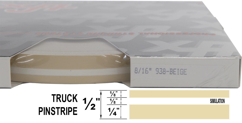 "Auto Truck Customizing Dual Pinstripe - 061-Black 1//4/"" Stripe, 1//8 Gap, then 1//8/"" Stripe Universal TFX 0008061 8//16 x 150"