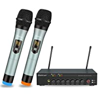 Bietrun Micrófono inalámbrico con eco/agudos/bajos ajustable con Bluetooth, rango de 190 pies, sistema de micrófono de…