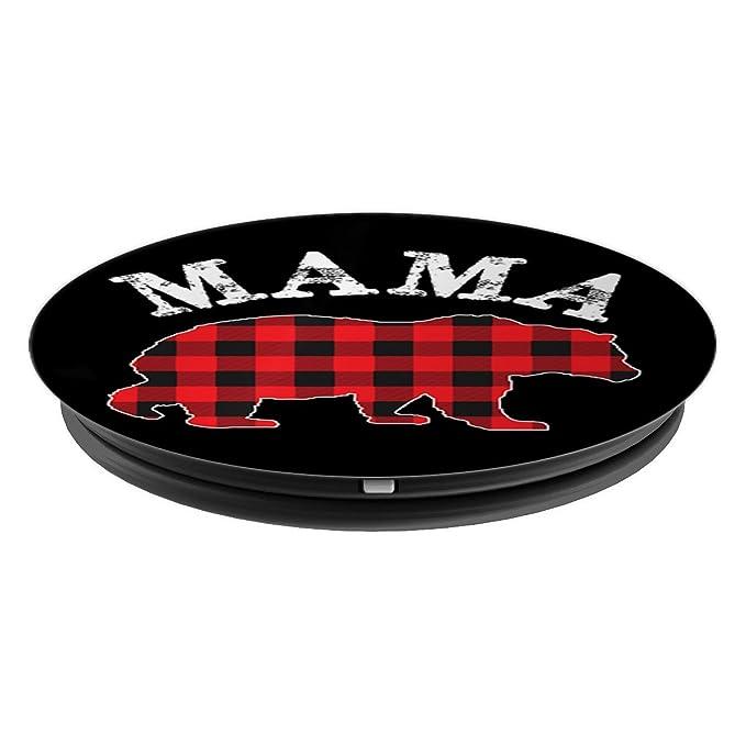 Amazon.com: Rojo Buffalo Plaid Mama Bear popsocket agarre y ...