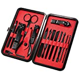 Manicure Pedicure Set Nail Clippers- Aooeou 16 in 1 Professional Stainless Steel Nail Kit & Mens Grooming Kit with Black Leather Travel Case Tools (16pcs Manicure Set)