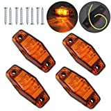 Justech 4 x 2 Diodes Amber Side Marker Lights Side Fender Marker Assembly Waterproof LED Position Side Lamps 12V 24V for Trailer Van Caravan Truck Lorry Car Bus