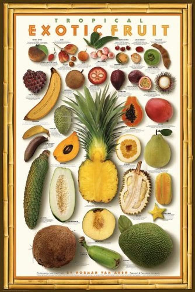 Picture Peddler Laminated Tropical Exotic Fruit Mango Food Kitchen Papaya Gourmet Poster Printint 24x36