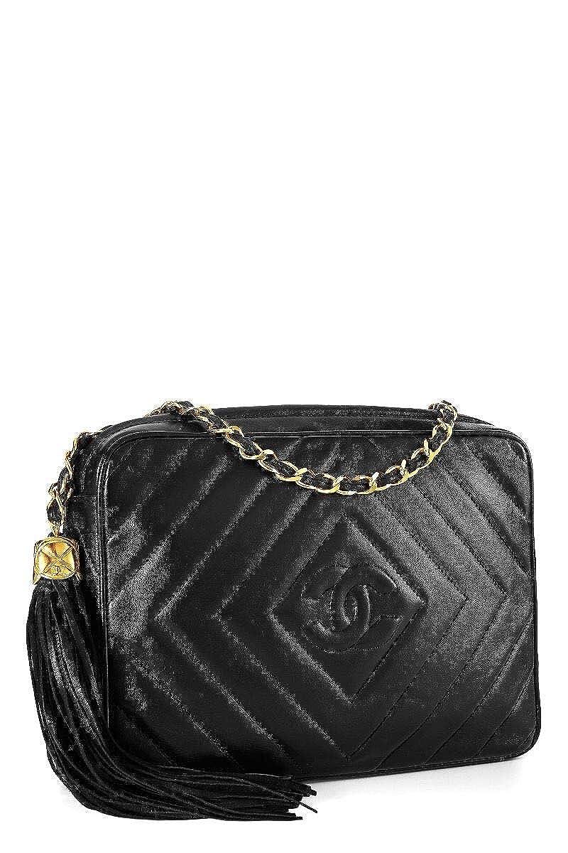 a1cd934dd24b CHANEL Black Lambskin Diamond 'CC' Camera Bag Medium (Pre-Owned): Handbags:  Amazon.com