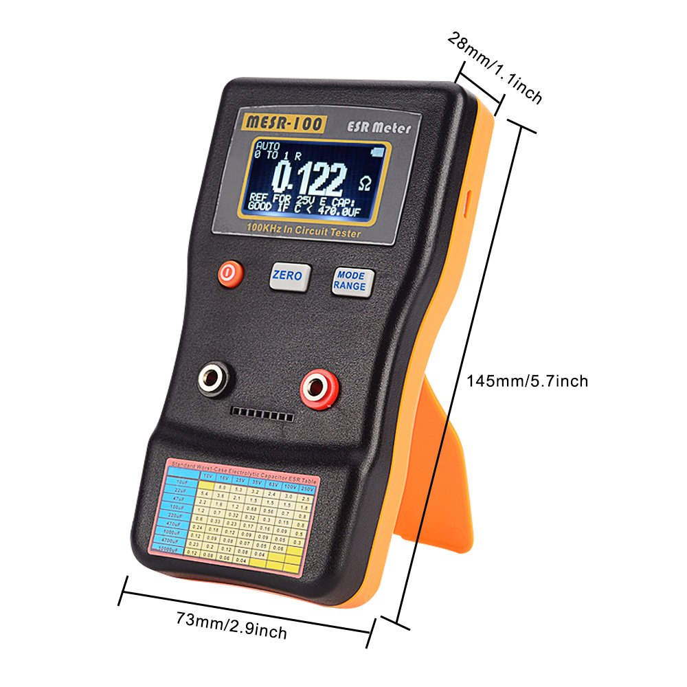 Support in Circuit Testing Signstek MESR-100 V2 Auto Ranging in Circuit ESR LCR Meter Capacitor//Low Ohm Meter Up to 0.01 to 100R