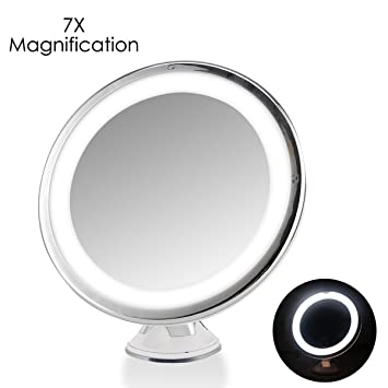 7x magnifying lighted makeup mirror oenbopo 360 rotation warm led tap light bathroom vanity - Lighted Vanity Mirror