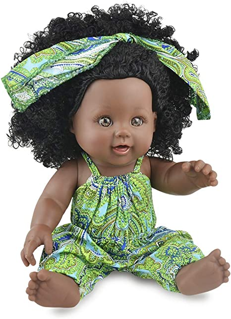 Nice2you Black Baby Doll In Green Outfit, 12