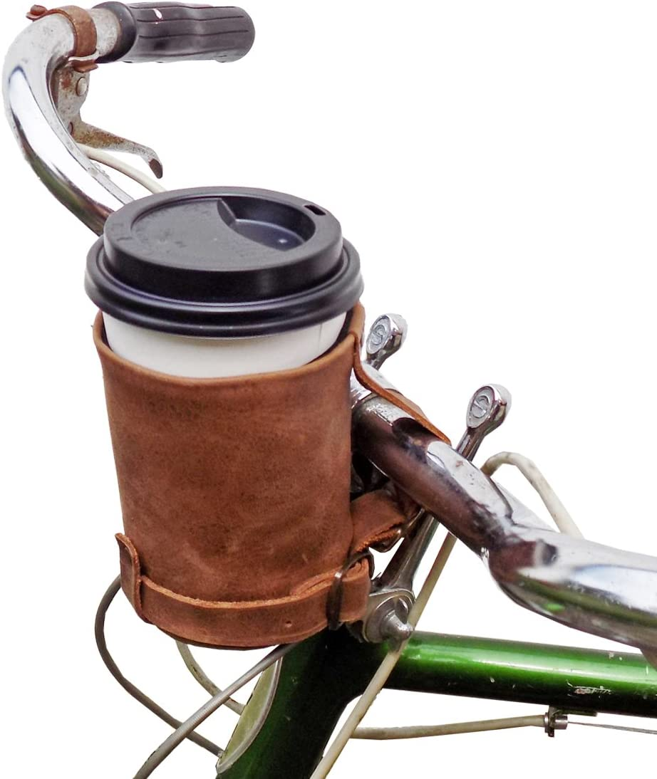 Hide & Drink, Cruzy Leather Bike Cup Holder, Handle Bar for Commuters and Bikers Handmade :: Bourbon Brown