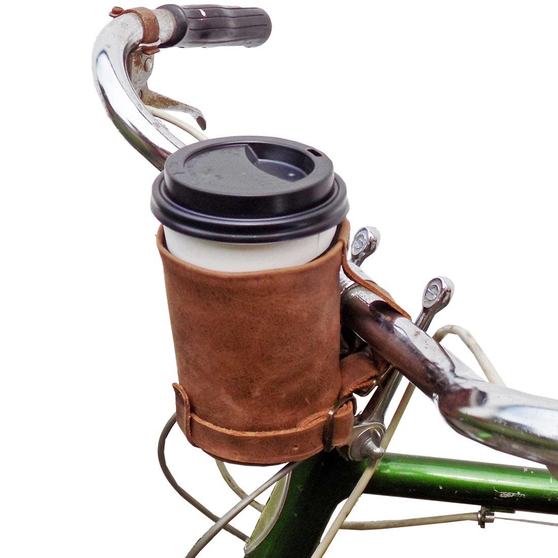 Hide & Drinkのクルージークージーハンドメイドレザー自転車カップホルダー (コーヒー)   B00YCRUAOI