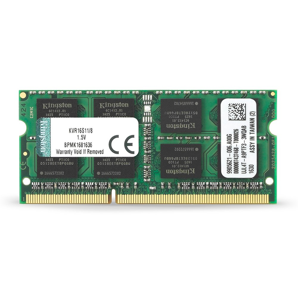 Kingston Technology ValueRAM Modulo Memoria, 1600 MHz, DDR3, Non-ECC CL11 SODIMM, 204-pin 1.5 V, 8 GB KVR16S11/8 memoria di lavoro memorie