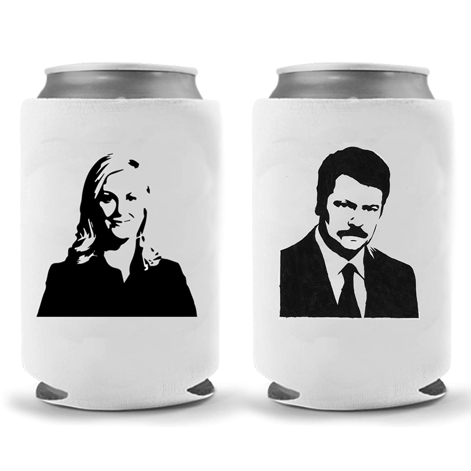 Ron Swanson Leslie Knope Can Coolie Parody Okay Boomer Novelty Beverage Cooler