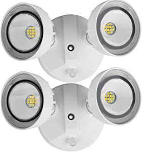bulbeats Dusk to Dawn LED Flood Light 20W Outdoor Security Flood Lights 5000K 2200Lm 2 Adjustable LED Heads IP65 Waterproof LED Security Light for Commercial & Household/ Entryways /Garage