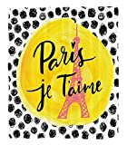 Chaoran 1 Fleece Blanket on Amazon Super Silky Soft All Season Super Plush Paris City Decor Collection Eiffel Tower with Paris I love You Message Polka Dot Background Vintage Art Design Fabric et