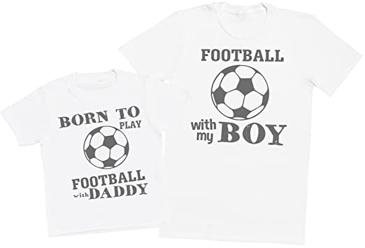 Zarlivia Clothing Born To Play Football With Daddy - Matching Father Kids Gift Set - Mens
