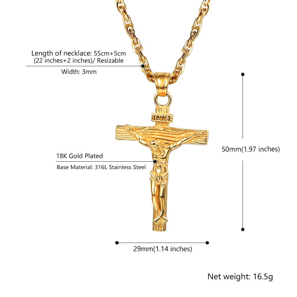 146145138 PROSTEEL Chaîne et Pendentif Croix Personnalisable Collier Homme ...