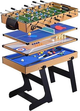 XLOO Juego de Mesa de futbolín Plegable 4 en 1 - Juego de fútbol/Tenis de Mesa/Bolos/Billar - 40 LB (Azul): Amazon.es: Hogar
