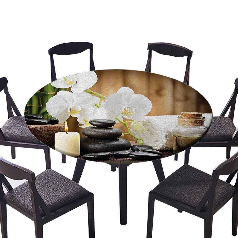Youdeem-tablecloth 円形テーブルカバー 竹 水を近くに反射 ホットブラックマッサージストーン ブラックグリーン 結婚披露宴用 (エラスティックエッジ) 55