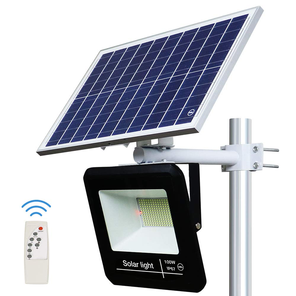 YQL 100W Outdoor LED Solar Street Security Flood Light IP67 Waterproof White 6500K 208 LEDs Auto On/Off Dusk to Dawn with Remote and Multi-Functional Bracket for Exterior Roads Yard Garden Pathway by YQL