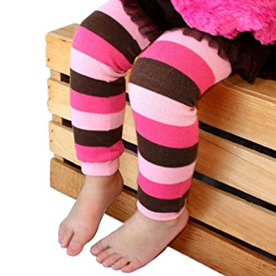 Baby Leg Warmers Hot Pink, Light Pink and Brown Striped