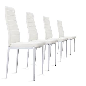 4 Stück Weiße Stühle Esszimmerstühle, Küchenstühle Mit Hochwertigem  Kunstlederpolster