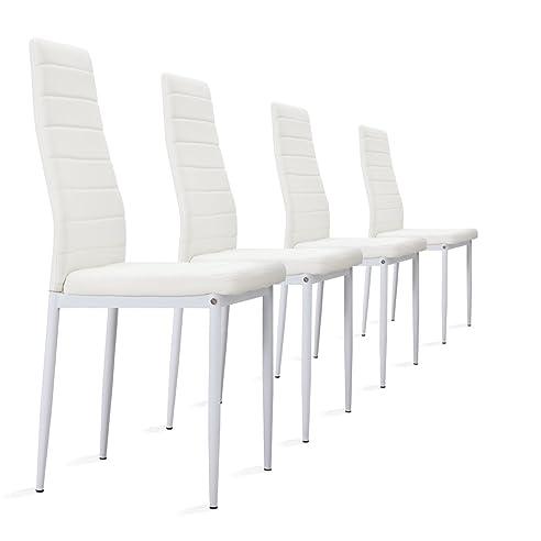 4 stück weiße stühle esszimmerstühle küchenstühle mit