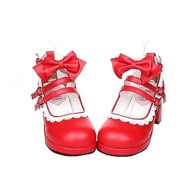 大きいサイズ ロリータ靴 トリプルリボン パンプス ヒール6cm 手作り ゴスロリコスプレ靴 お嬢様