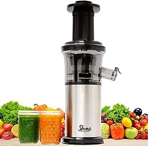 Shine Kitchen Co. by Tribest SJV-107-A Slow Juicer, 5.5 x 5.2 x 19.5, Silver, Black