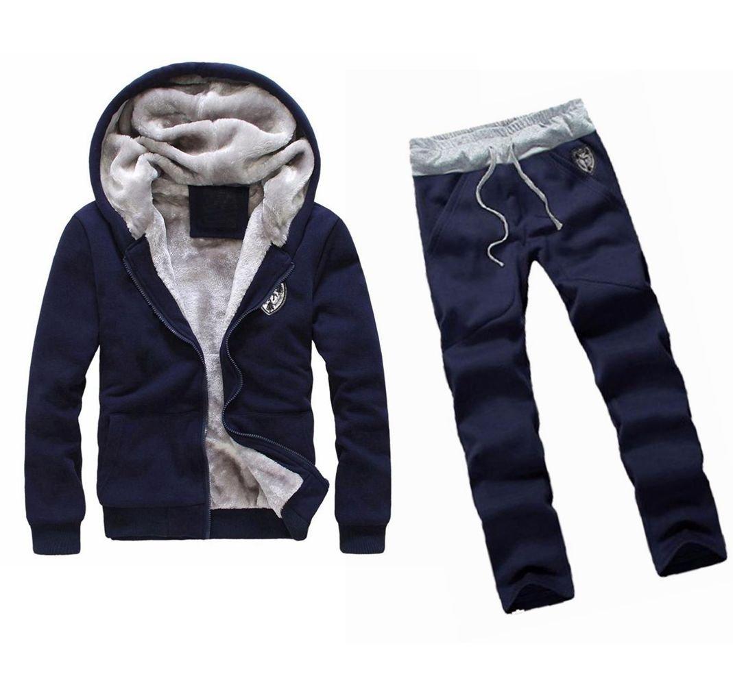 WM&MW Mens Tracksuit Warm Fleece Sport Zipper Hooded Sweatshirt Coat Hoodies+ Gym Sweat Pants (L (Asia:XL), Blue) by WM&MW