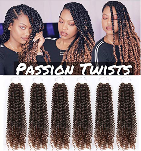Passion Twist Hair Ombre Colors 20 inch 6 Packs Water Wave Crochet Braids Passion Twist Braiding Hair Extensions 30Strands/Pack (20