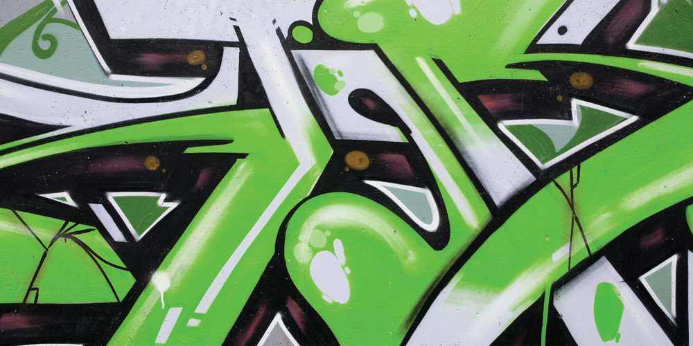 3-Feet tall by 6-Feet JP London uStrip Lite MD3063MM Grafitti Green Fresh Jive Panoramic Fully Removable Prepasted Mural