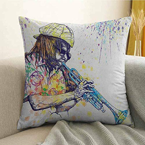 FreeKite Jazz Music Printed Custom Pillowcase Illustration of Trumpeter with Paint Splashes at The Background Entertainment Decorative Sofa Hug Pillowcase W16 x L16 Inch Purple Yellow