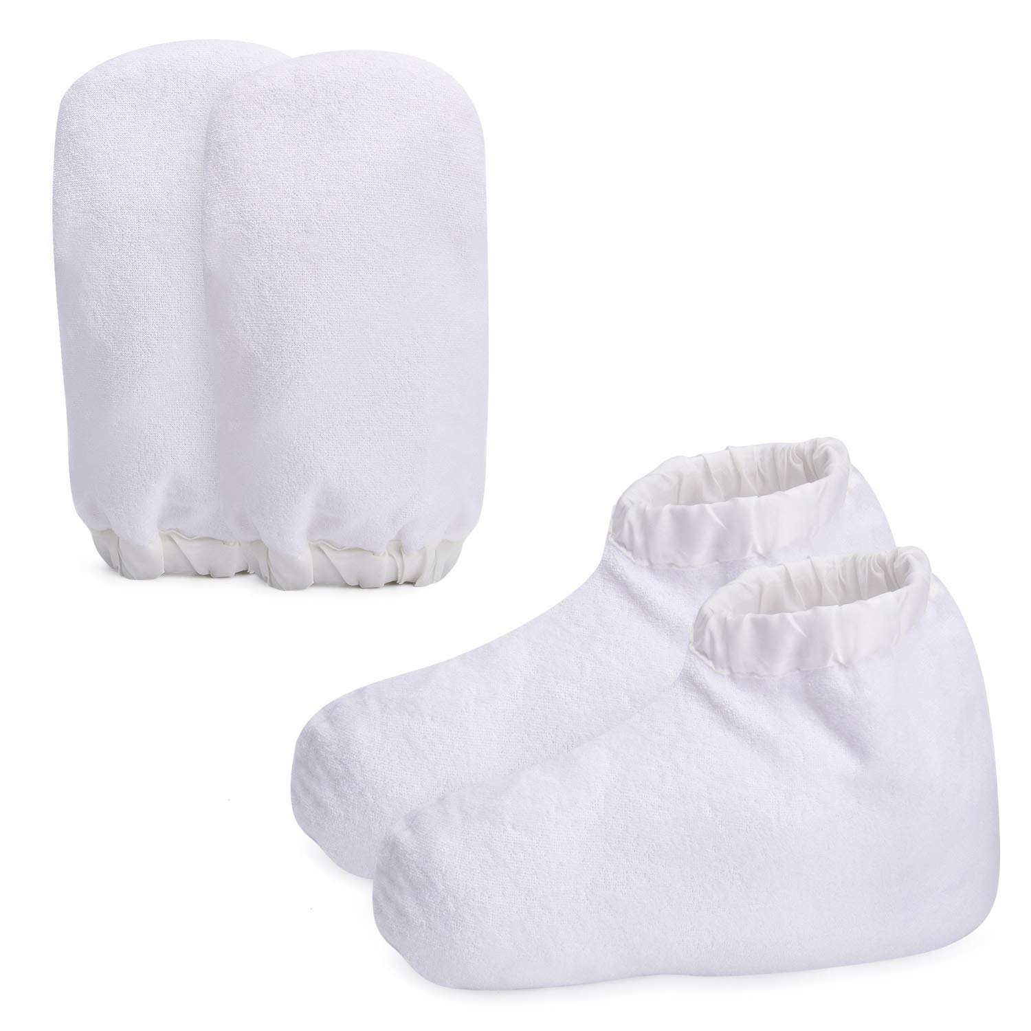 Paraffin Wax Warmer Mittens, Terry Cloth Mitts Booties for Hand Foot Care, Thick SPA Therapy Paraffin Wax Hand Bath Gloves Sock for Heated Manicure Supply - White by Noverlife