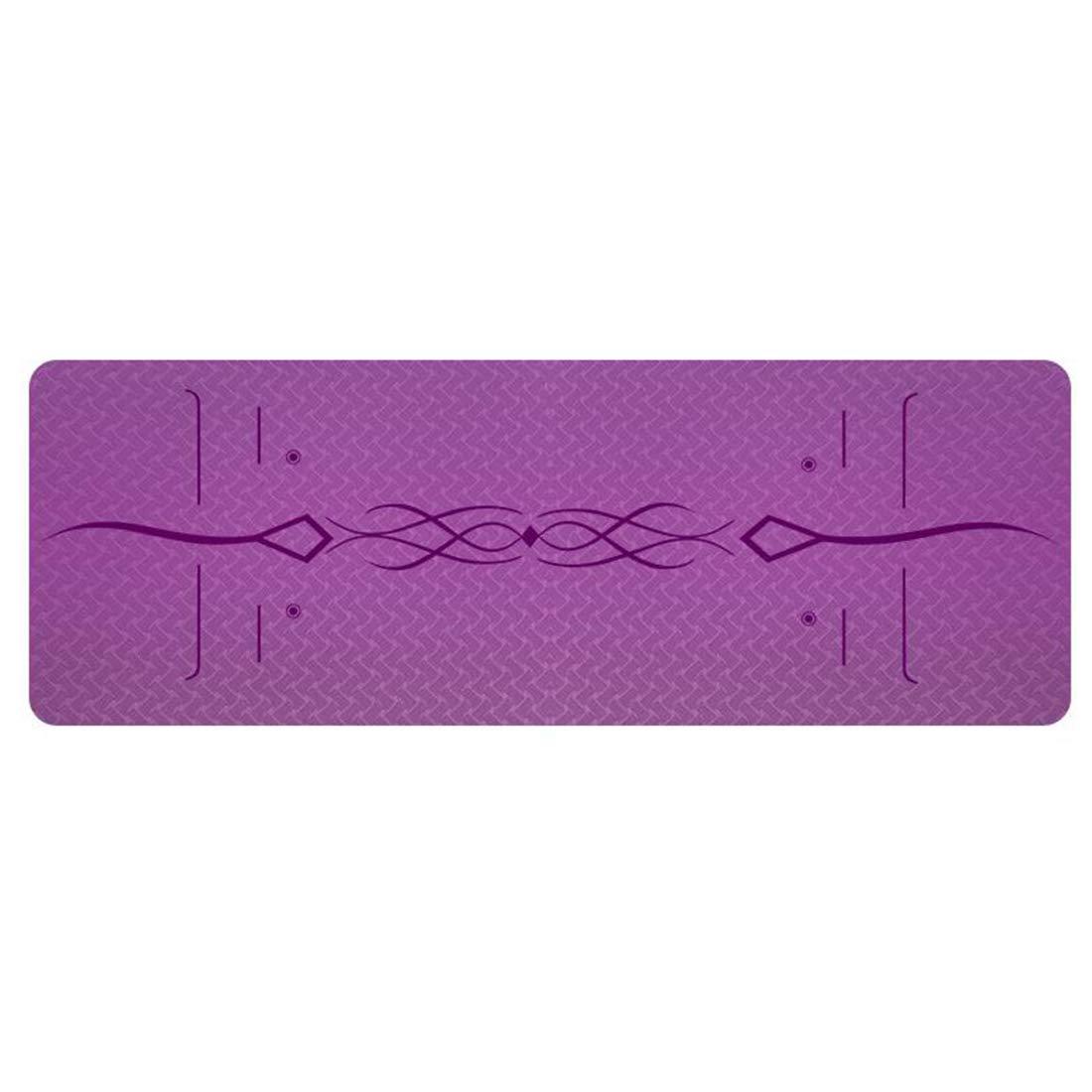Dark violet Ploekgda Tapis de Yoga avec Sangle - Tapis de Yoga 6   8mm épais, antidérapant, léger, écologique, très Grand 72 X 24    72 X 31.5  pour Exercice de Fitness Yoga Pilates 183cmX80cm6mm