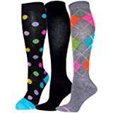 Ladies 3 Pair Pack Compression Socks- Shoe sizes 4-10 (Anitka)