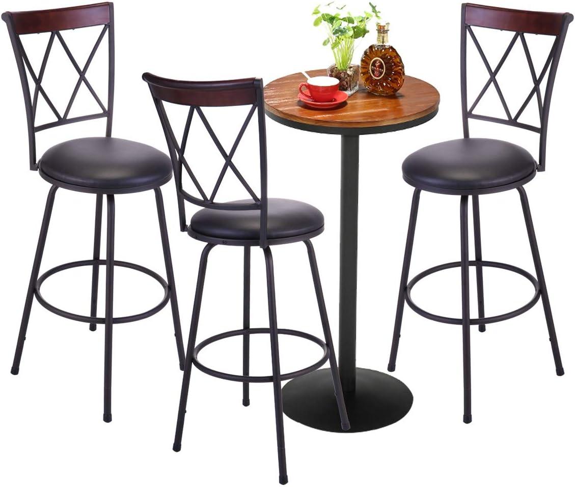 TOBBI Set of 3 Modern BarstoolHigh Back Swivel Metal Bar Stool CounterBistro Pub Breakfast Kitchen Stool Chairs