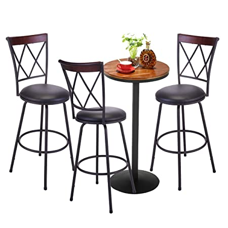 Tobbi Set of 3 Modern BarstoolHigh Back Swivel Metal Bar Stool CounterBistro Pub Breakfast Kitchen Stool Chairs