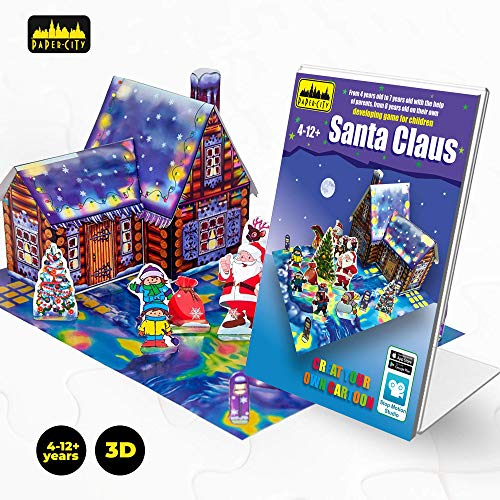 Paper City Santa Claus Christmas 3D Puzzle - DIY 3D Model Play Kit for Kids Age 4-12 Years Old and -