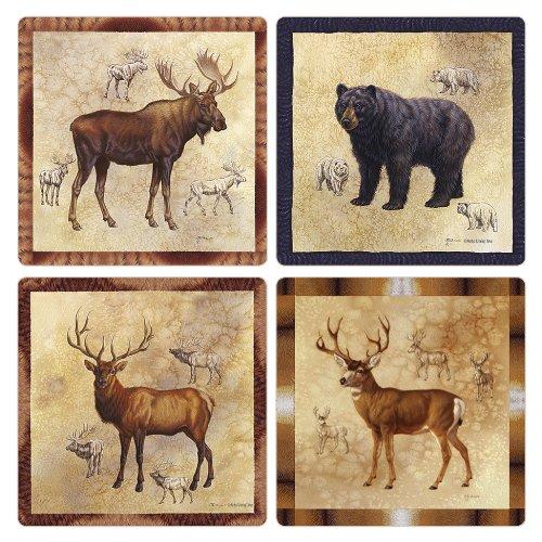 CoasterStone AS8660 Absorbent Coasters, 4-1/4-Inch, Rocky Mountain Moose Bear Elk Mule Deer, Set of ()