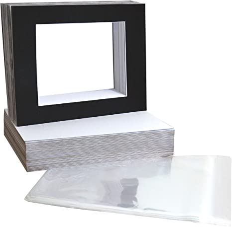 Pack of 25 11x14 Black Picture Mats Mattes with White Core Bevel Cut for 8x10 Photo Acid Free Golden State Art
