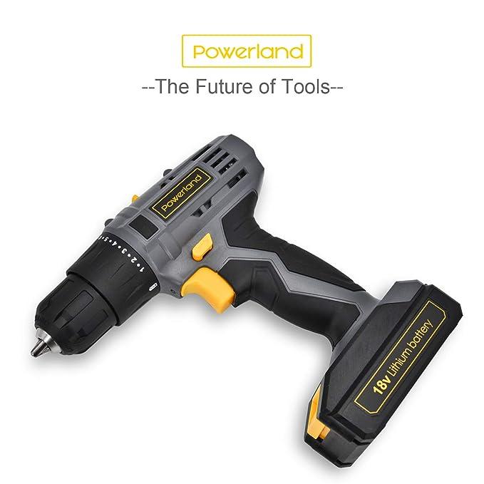 powerland 18 V variable velocidad 0 – 350/0 – 1300RPM destornillador percutor eléctrico Li-Ion gris función cierre rápido con juego de accesorios…