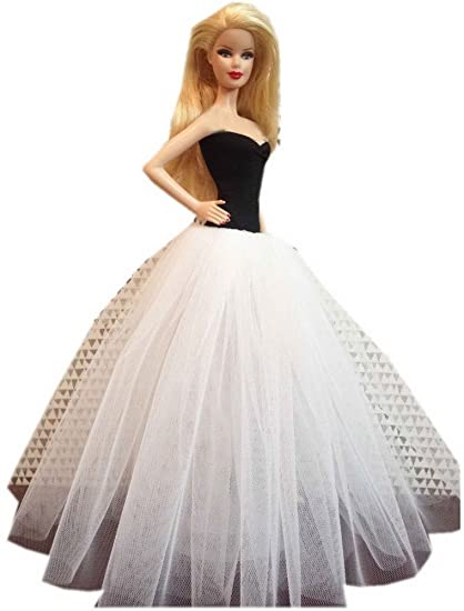 Amazon.com: Doll\'s Wedding Gown Black & White Dress for Dolls: Toys ...