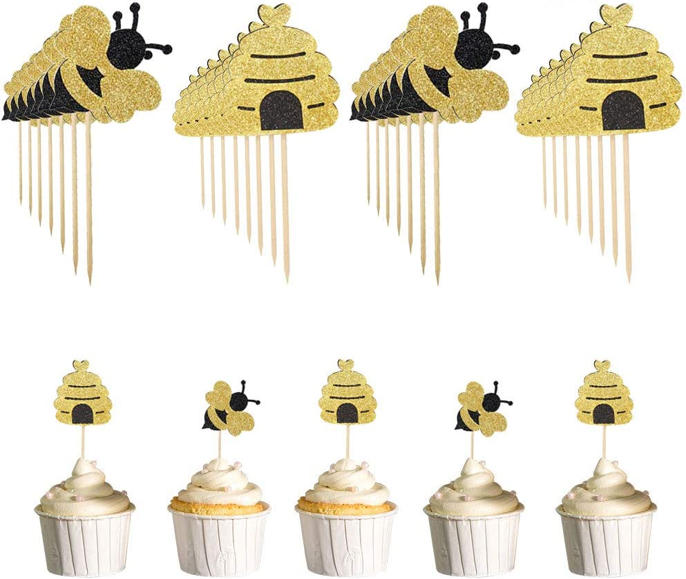 ATROPOS 100 Pack Glitter Bumble Bee Cupcake Toppers for Bee Gender Reveal Party Baby Shower Party Supplies Cake Decor