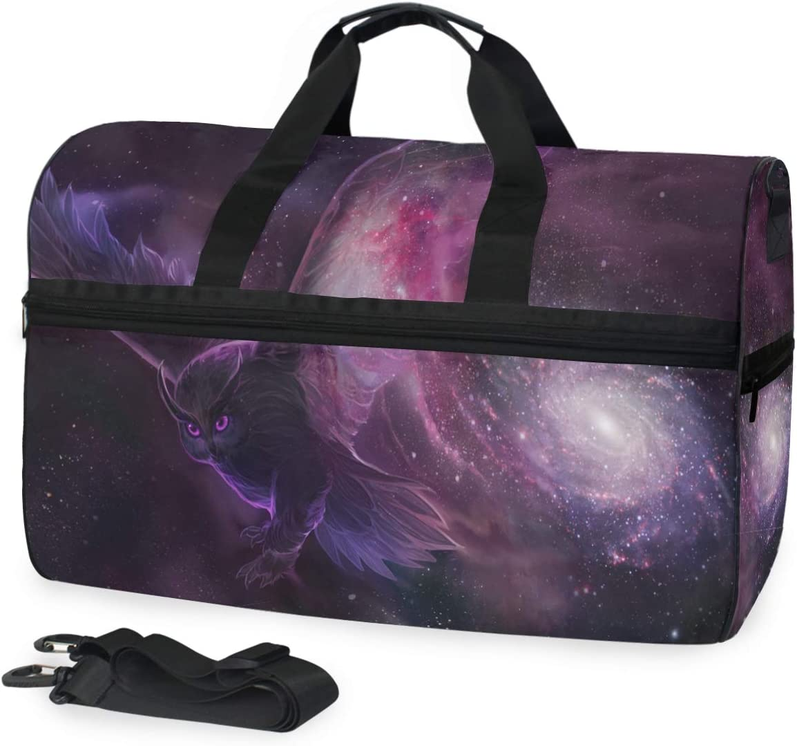 MUOOUM Purple Galaxy Animal Eagle Large Duffle Bags Sports Gym Bag with Shoes Compartment for Men and Women