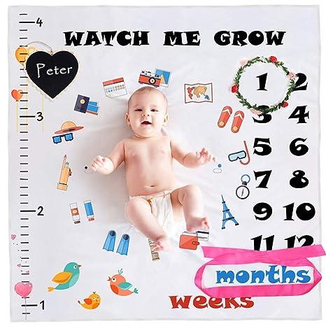 StillCool Mensual Mantas bebé Milestone hito Recién nacido regalo Fondo de Fotografía para Recién nacido y niños pequeños en crecimiento mamá & ...