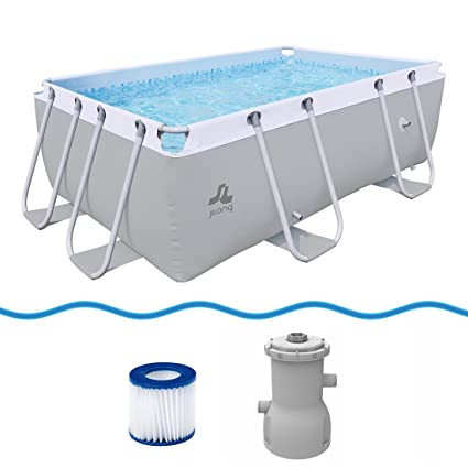 JILONG Swimming Pool Set Passaat Grey - Piscina con Armazón de Acero 295x200x84 cm con Bomba
