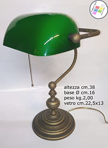 Lampada da tavolo Ministeriale Vetro Verde in Ottone Churchill Inglese