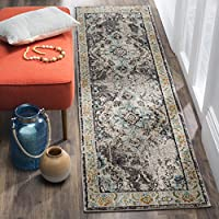 Safavieh Monaco Collection MNC243G Vintage Oriental Grey and Light Blue Distressed Runner (2'2' x 8')